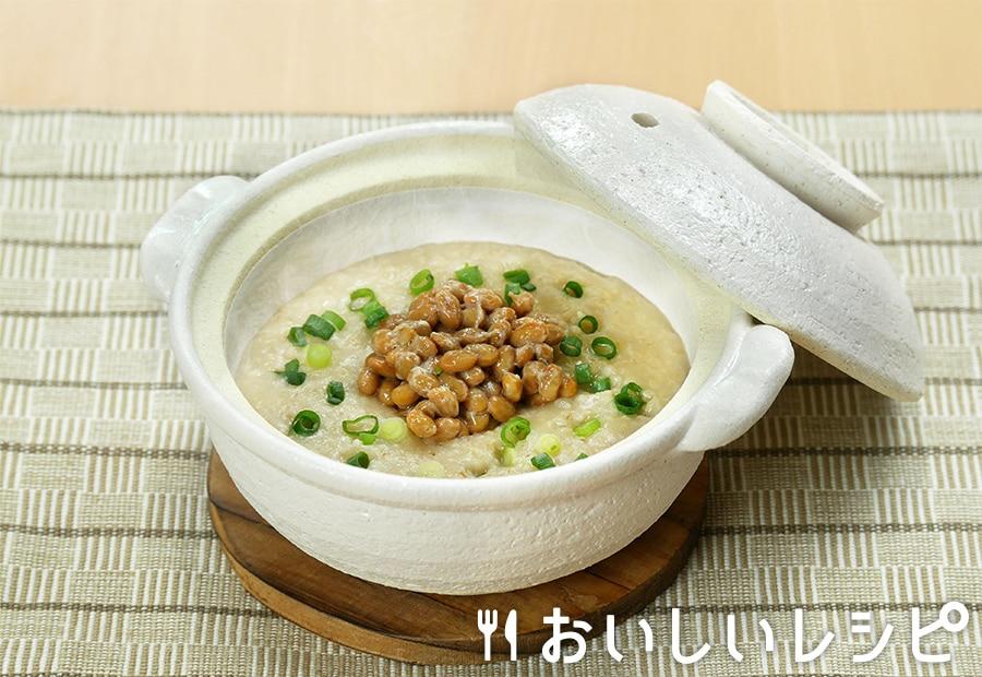 オートミールで納豆粥
