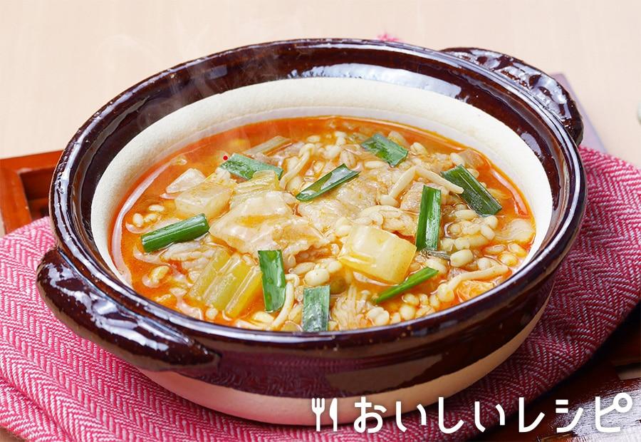 もち麦雑炊(キムチ鍋)