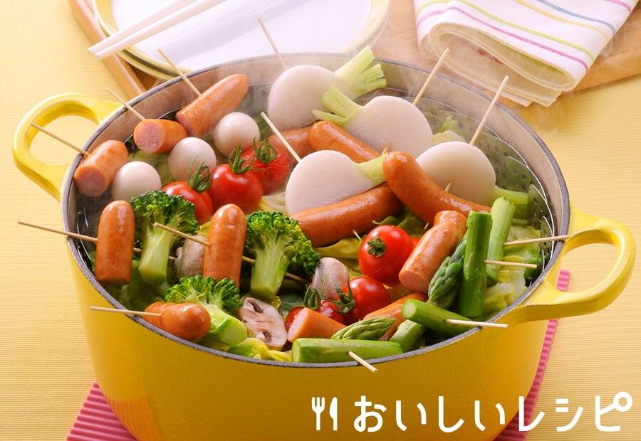 ウインナーと野菜のスティック蒸し鍋