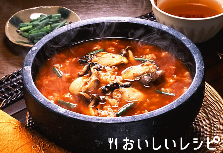 牡蠣とキノコのキムチクッパ