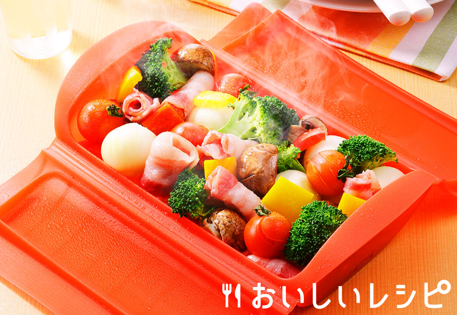 シリコンスチーマーで蒸し野菜