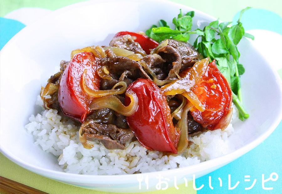 トマトのすき焼き丼