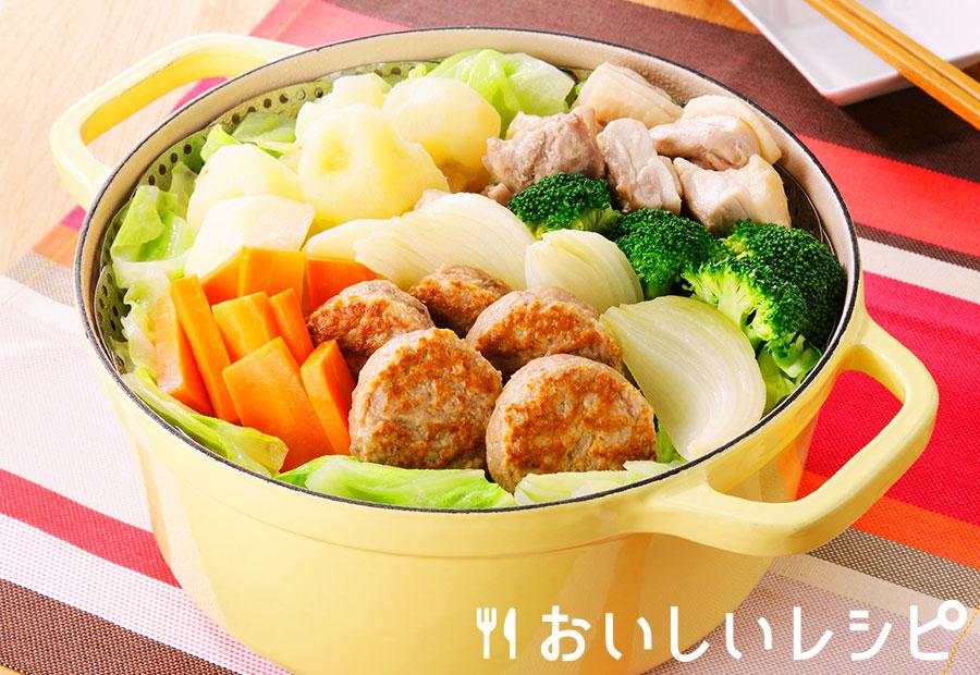 ハンバーグと野菜の蒸し鍋