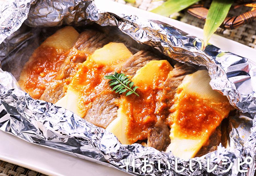 旬タケノコの牛ホイル焼き