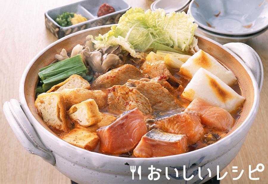鮭とお餅のキムチ鍋