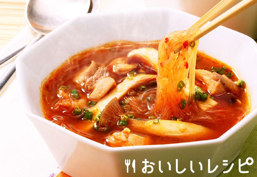 春雨ときのこのキムチスープ