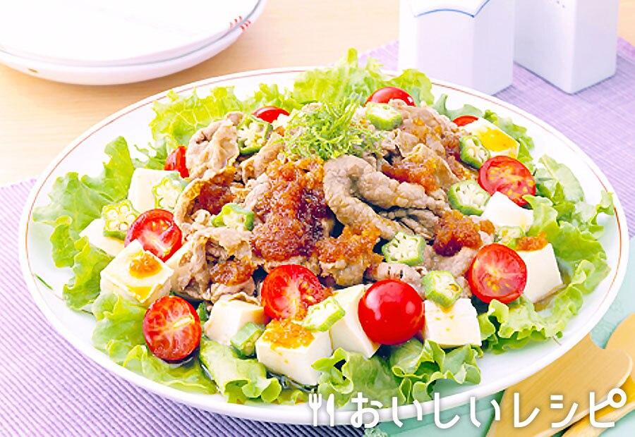 焼肉サラダの豆腐盛り