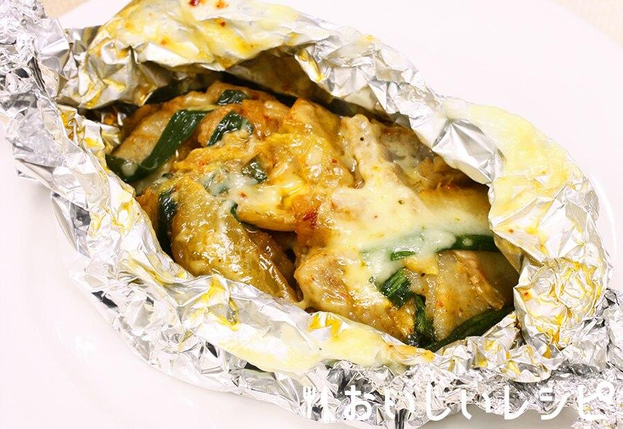 豚キムチーズの黄金ホイル焼き