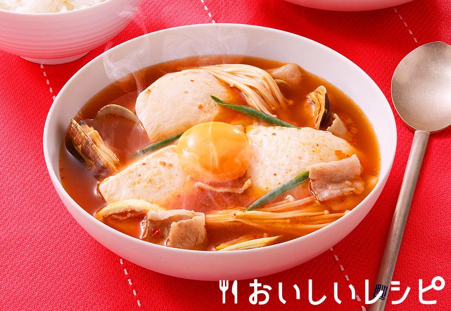 スンドゥブチゲ風キムチスープ
