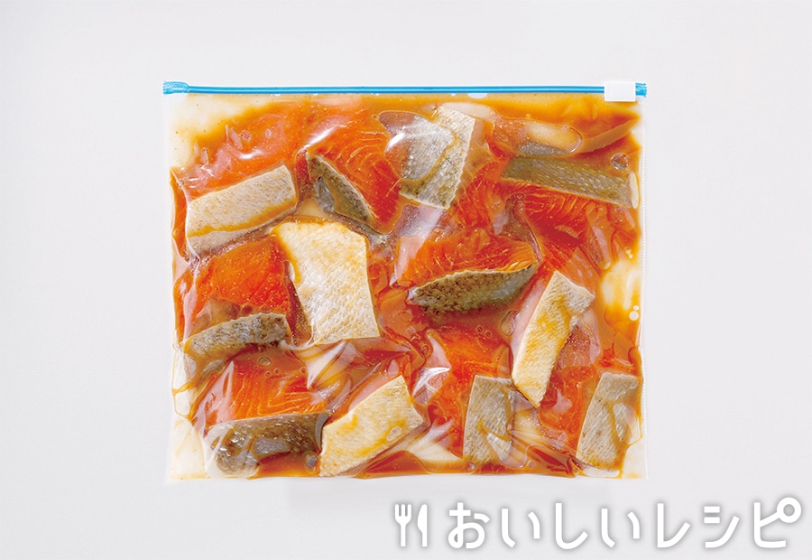 下味冷凍魚(お手軽鮭のチャンチャン焼き用)