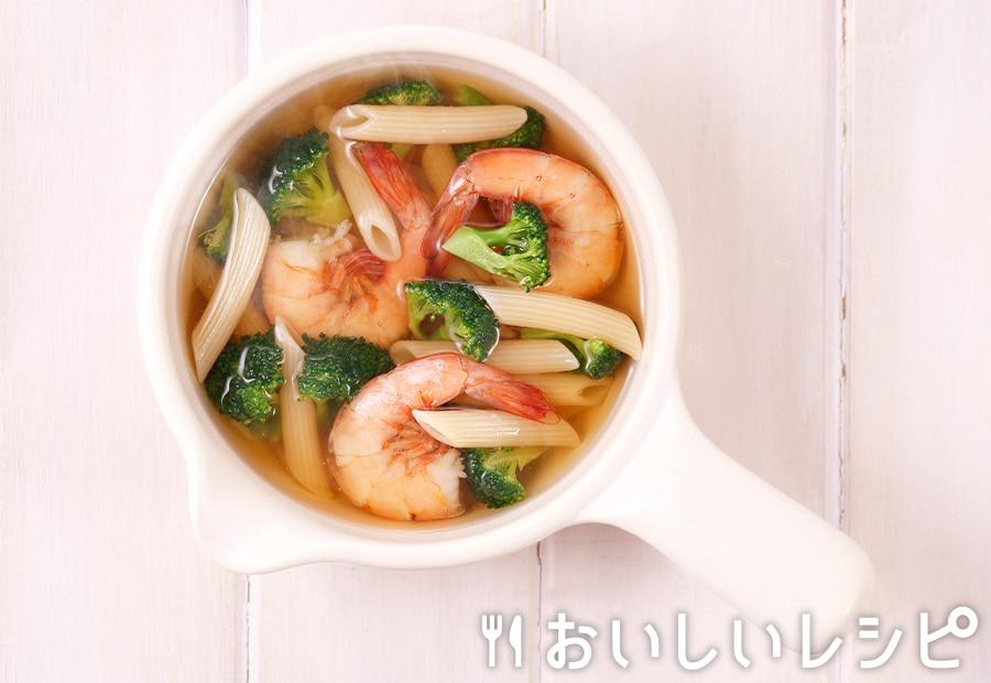my主食スープ エビとショートパスタ