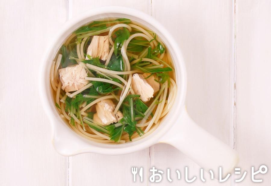 my主食スープ ツナ缶スープスパ