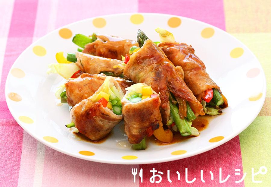 フライパンで野菜の肉巻き