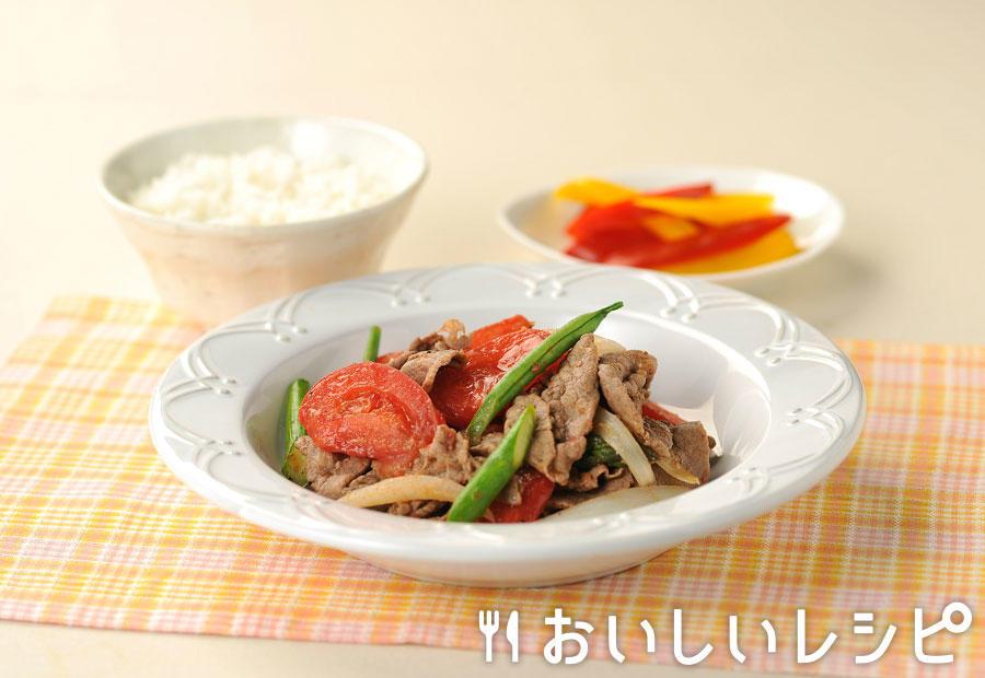 牛肉とトマトのすき焼き風炒め