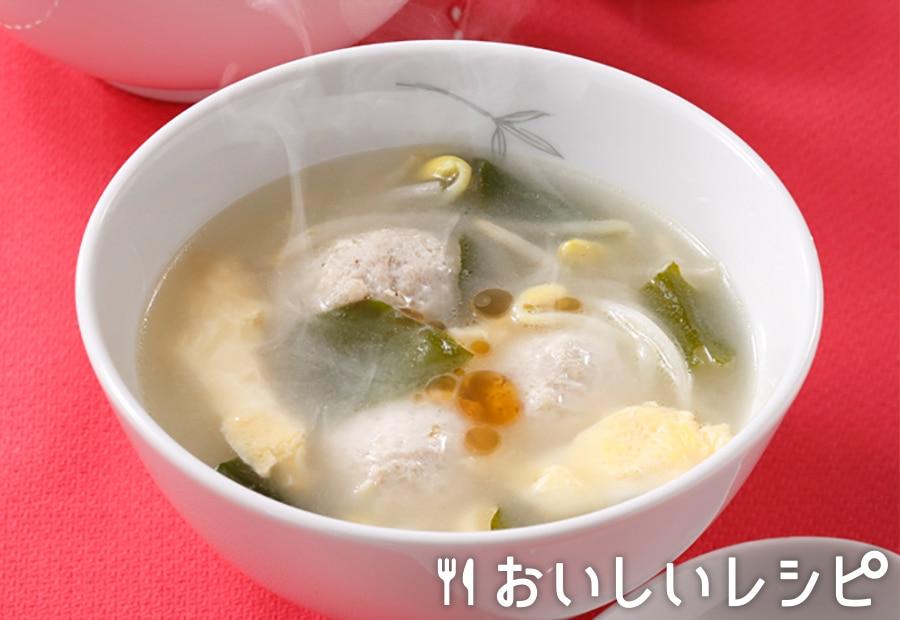 鶏団子の具だくさん中華スープ