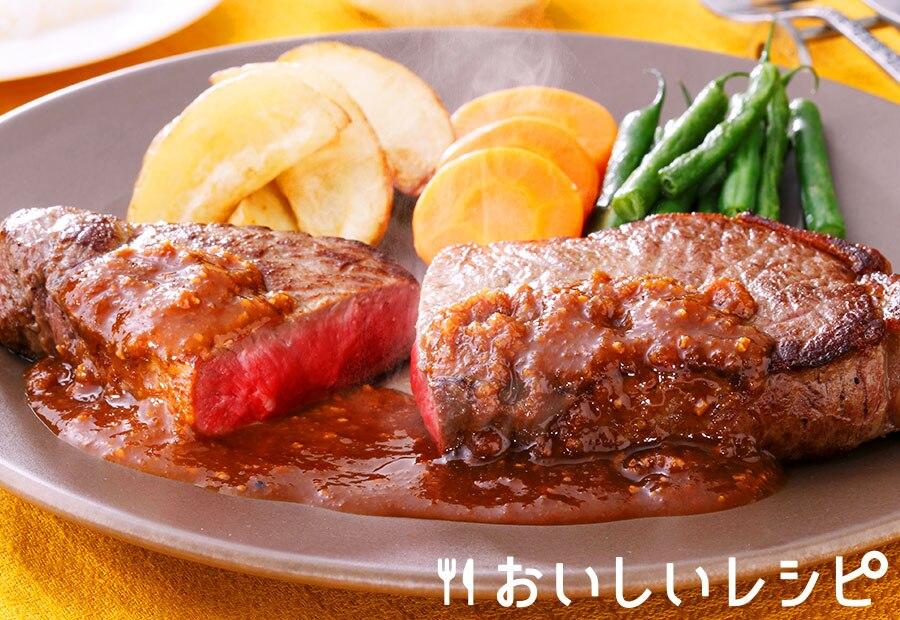 赤身肉のにんにくステーキ