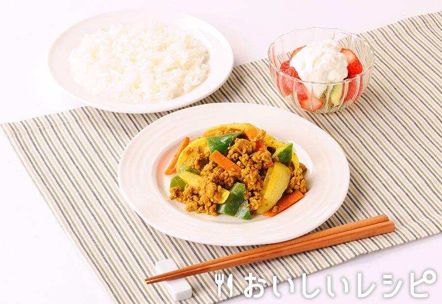 ひき肉とゴロゴロ野菜のスパイシー炒め