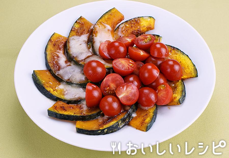 ステーキソースでかぼちゃトマト焼き