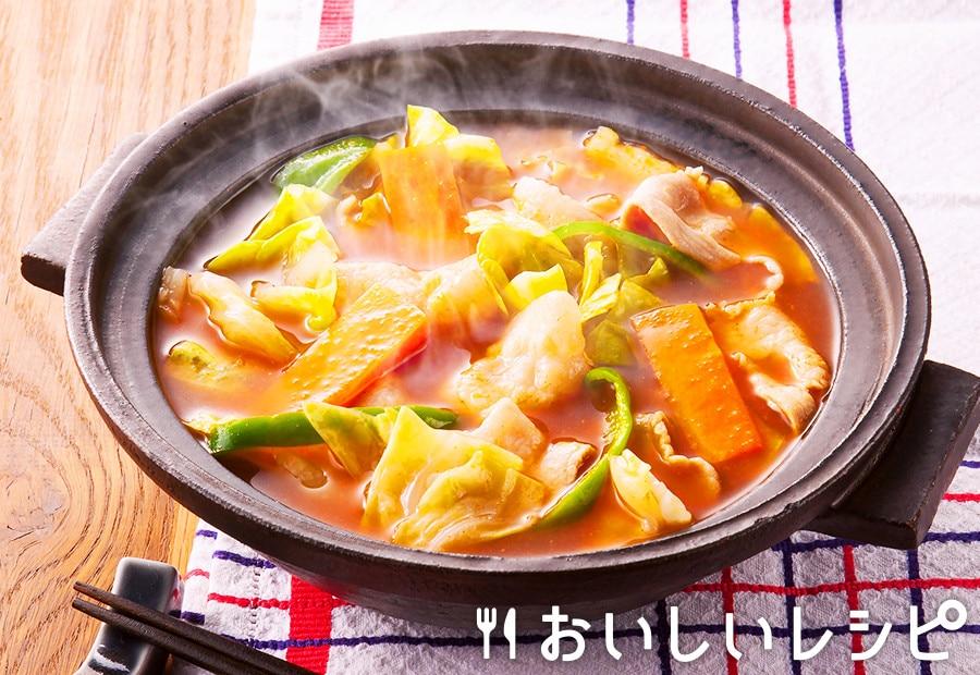 カット野菜で簡単キムチ鍋