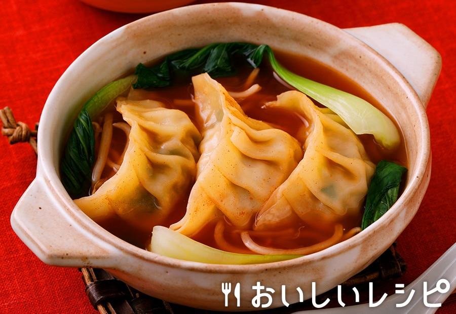 餃子とチンゲン菜のキムチ鍋