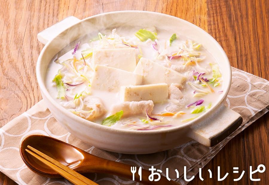 カット野菜で簡単豆乳ごま鍋