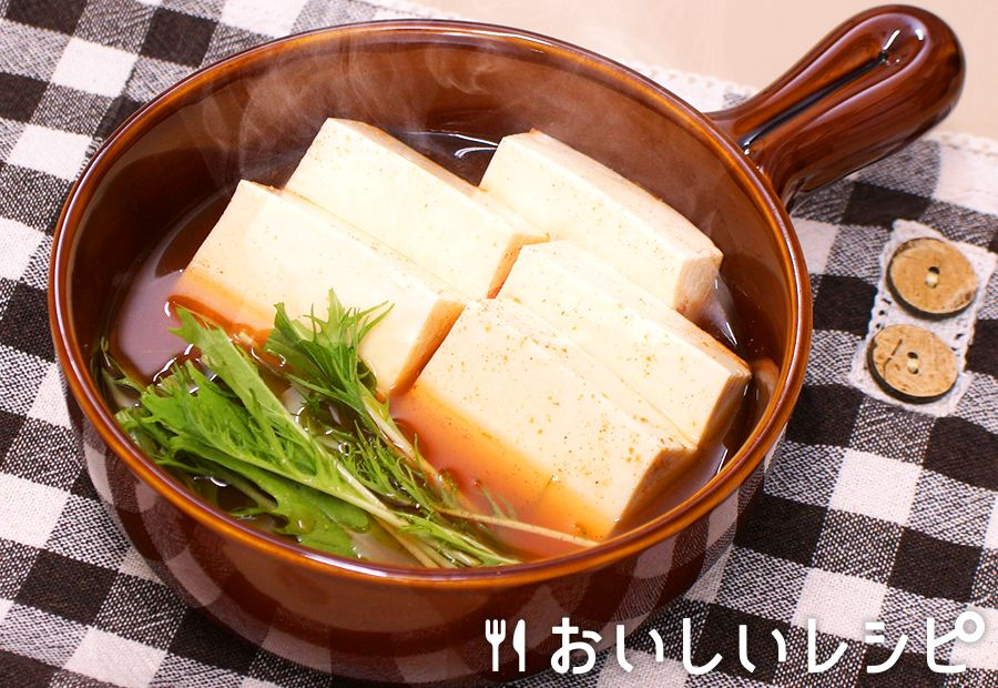 レンジで簡単湯豆腐(キムチ鍋)