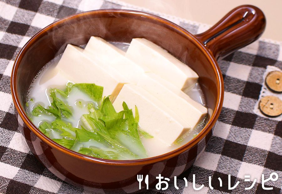 レンジで簡単湯豆腐(濃厚白湯鍋)