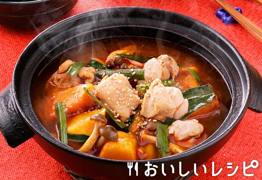 冷凍野菜を使って!かぼちゃのキムチ鍋
