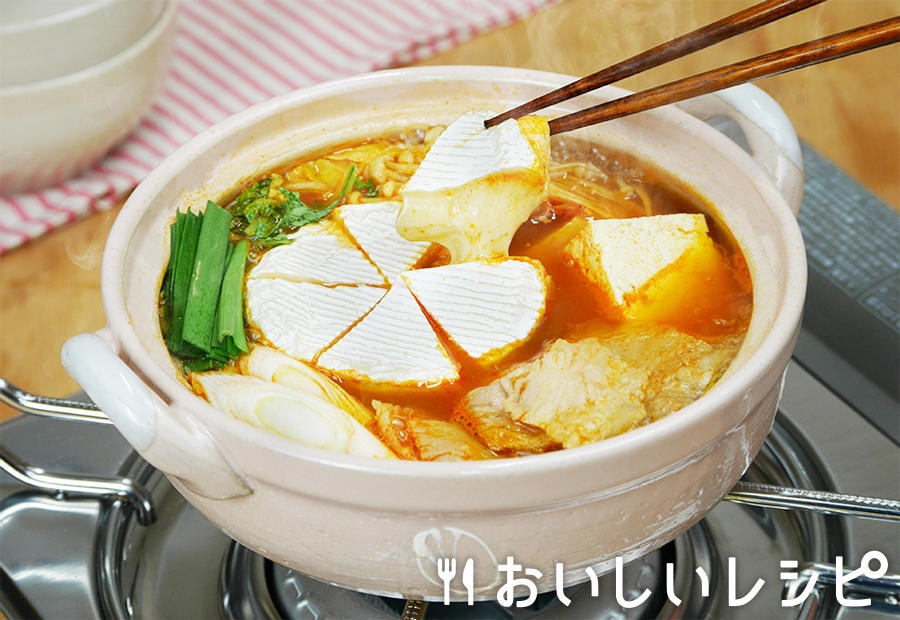 カマンベールチーズ赤キムチ鍋